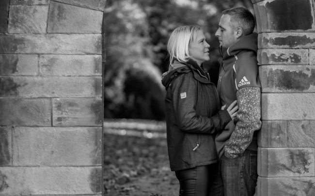 Engaged Couple in Archway at Newstead Abbey